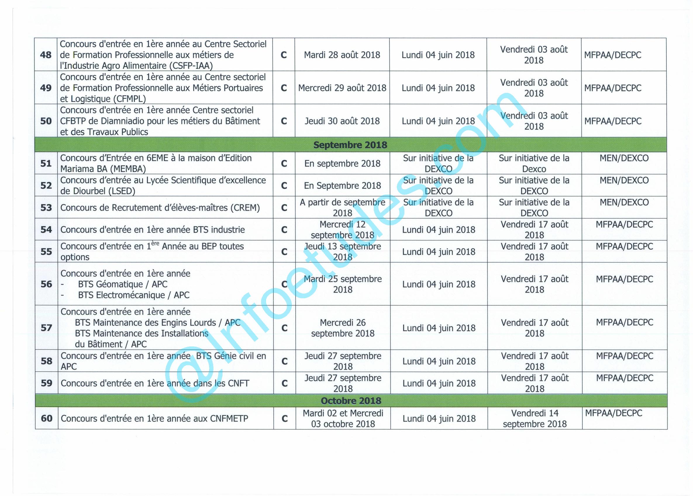 247ca2e5c0b Le Calendrier Officiel et Complet de tous les concours ouverts en ...