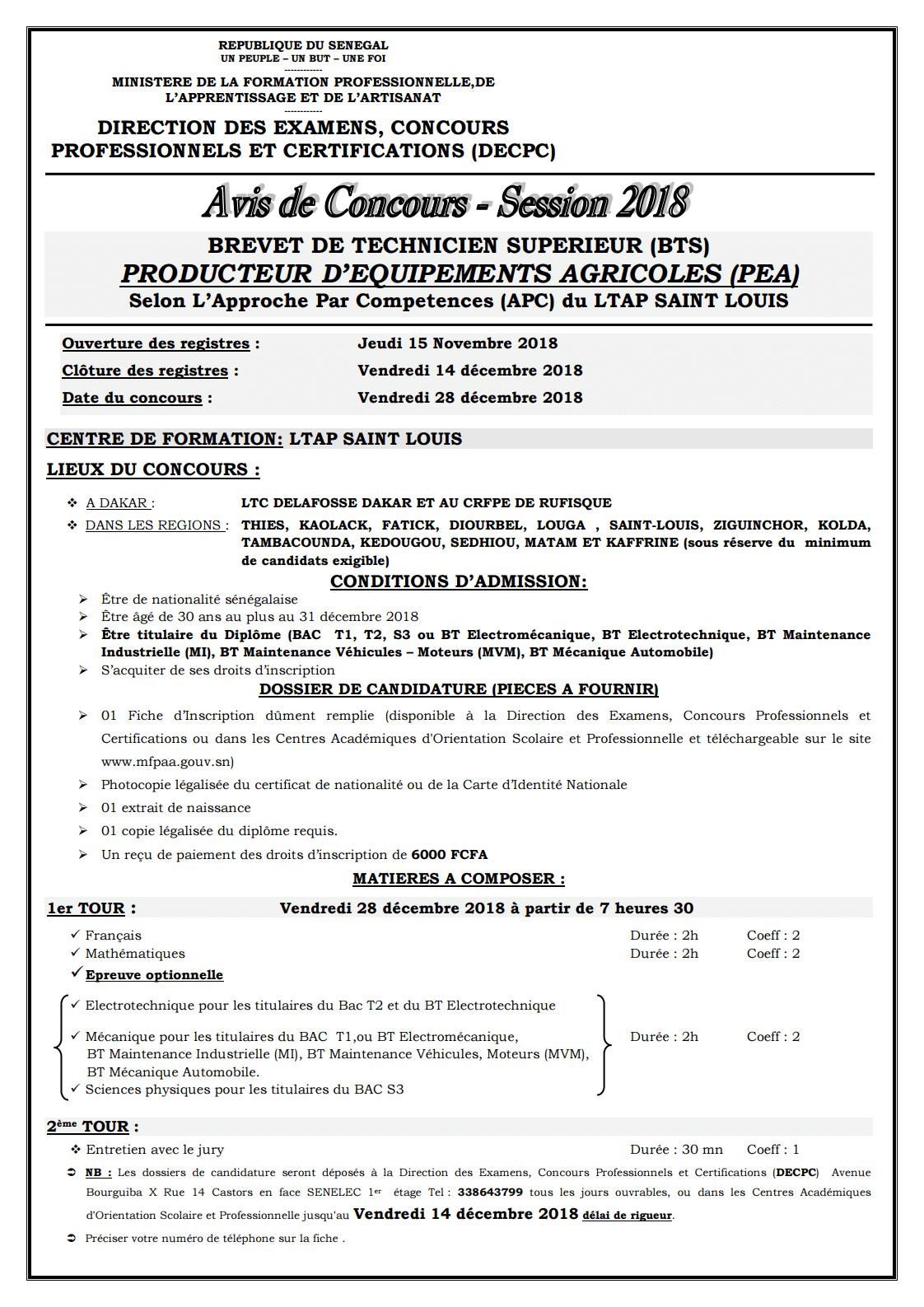 page1 Concours BTS Producteur d'Equipements Agricoles (PEA)