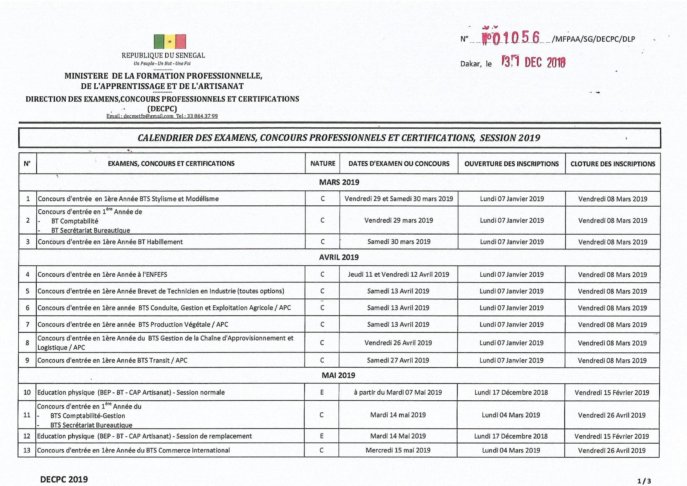 Concours Calendrier.Calendrier Des Examens Concours Professionnels Et