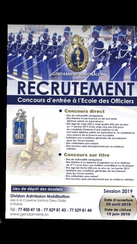 018513045f3 Concours d entrée à l école des officies de la Gendarmerie - Session ...
