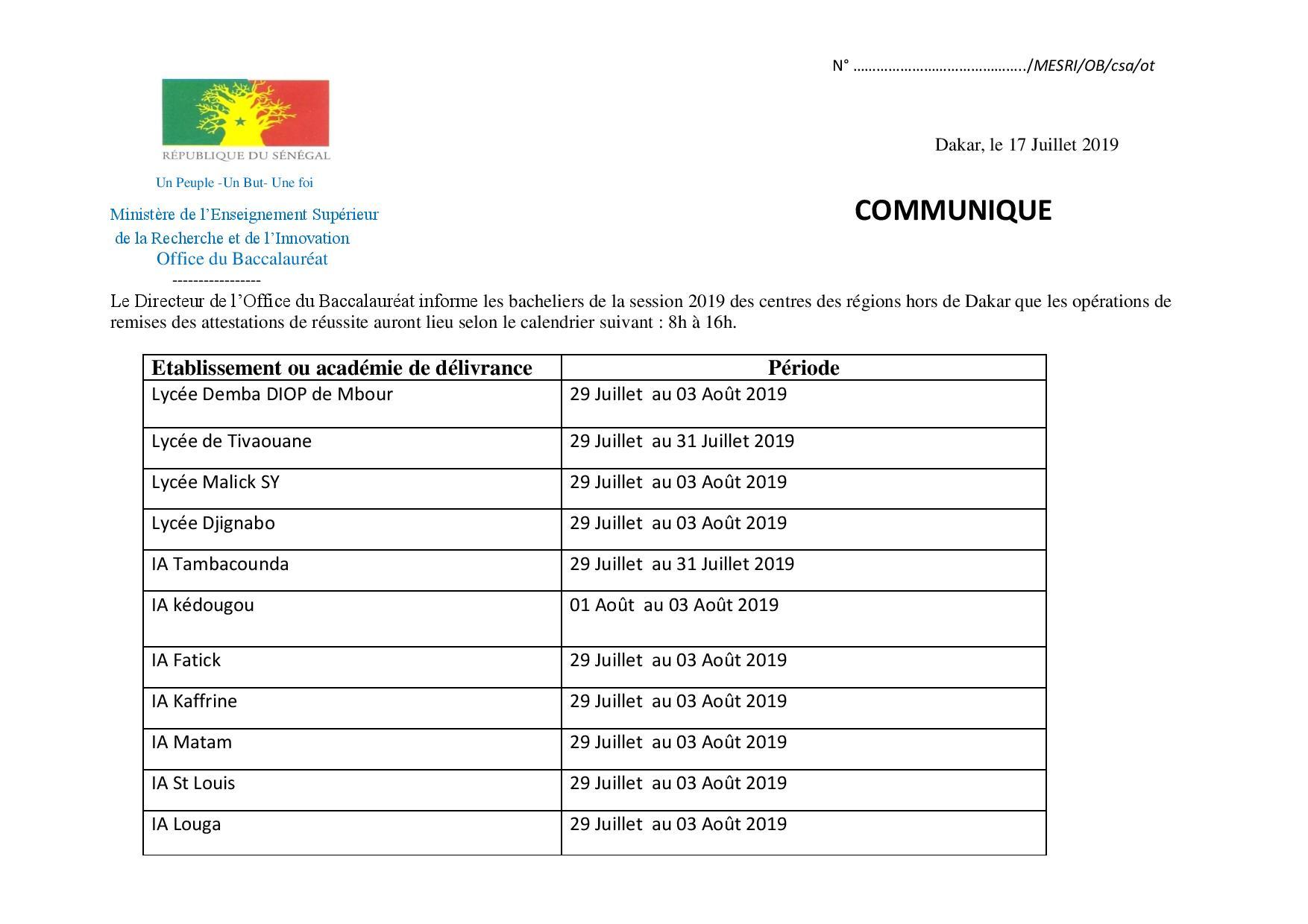 COMMUNIQUE 2 RETRAIT ATTESATION 2019 page 002 Calendrier de retrait des attestations du Bac dans les autres régions