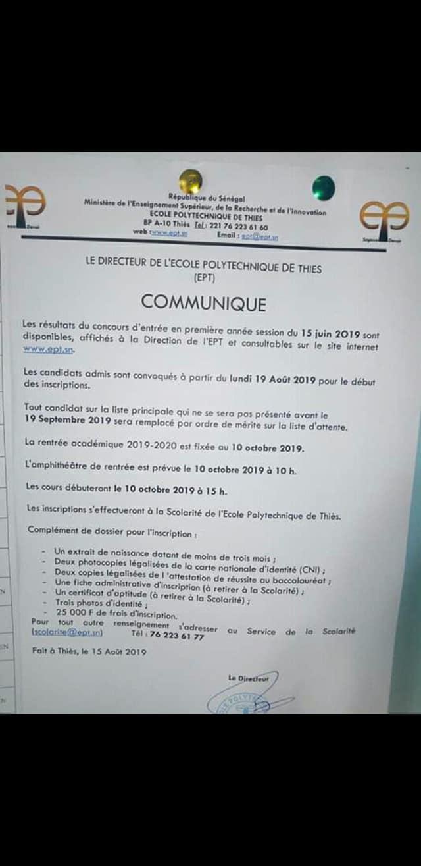 69411142 2416036721948154 2887541113357336576 o Résultats du Concours d'entrée à l'École Polytechnique de Thiès (EPT) – Session 2019
