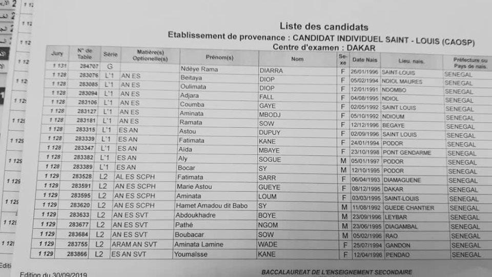 session bac Bac 2019 - Liste des candidats pour la session de remplacement