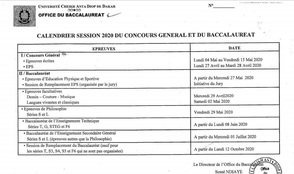 bac 2020 Calendrier du Baccalauréat 2020 et du Concours Général