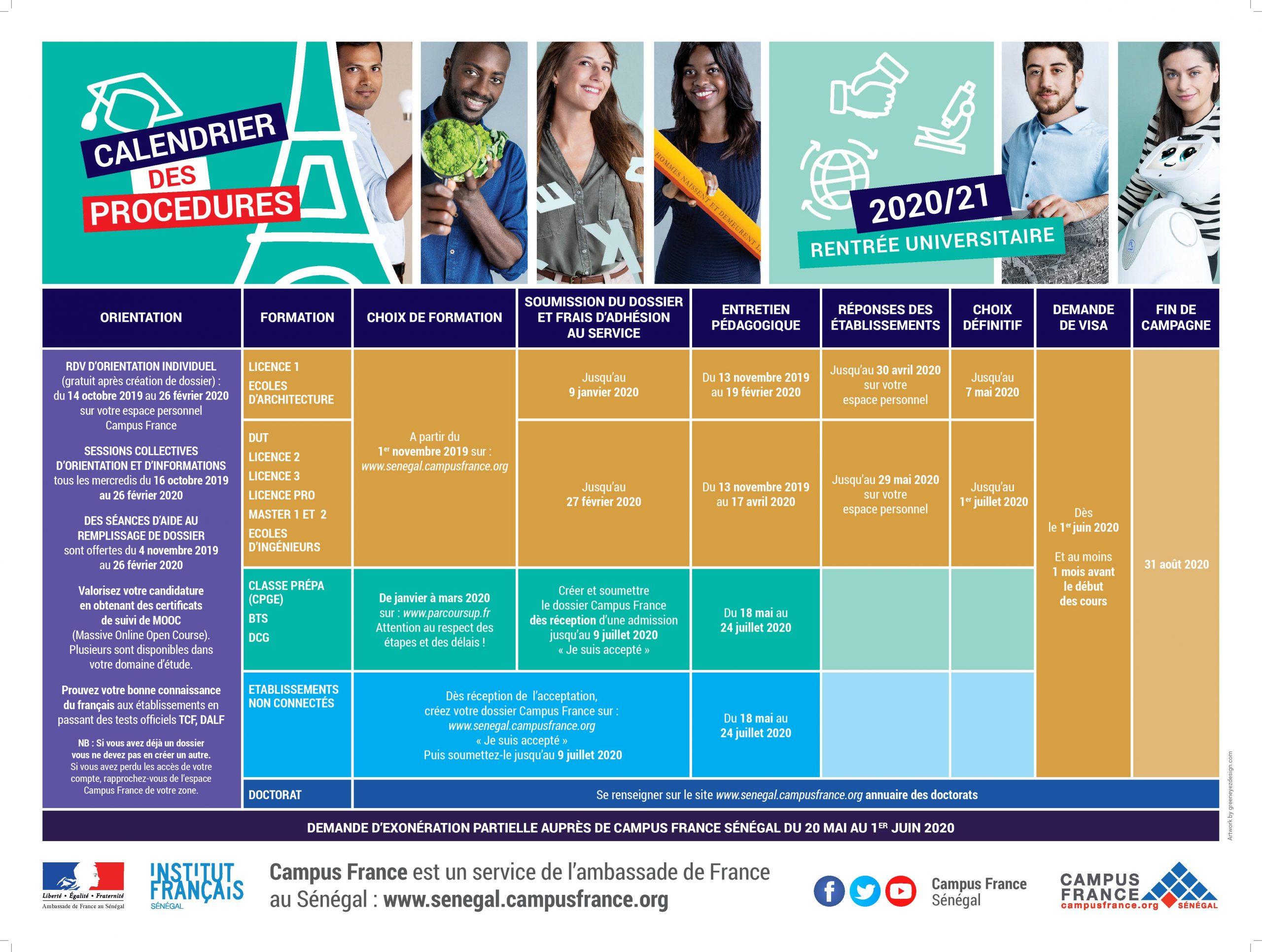 calendrier 2019 1 page 001 scaled 1 Campus France : le calendrier des procédures pour la rentrée 2020/21