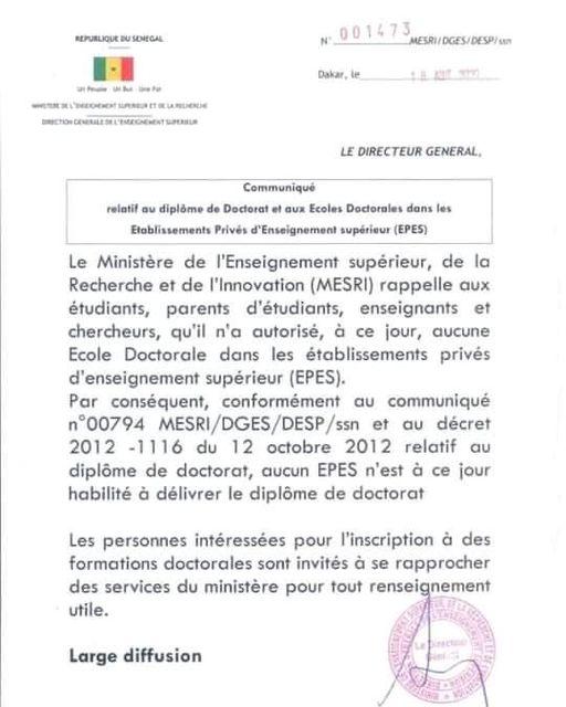 121571736 1818788354936655 1357681899437364159 n.jpg Communiqué du Ministère de l'enseignement supérieur sur les écoles privées doctorales