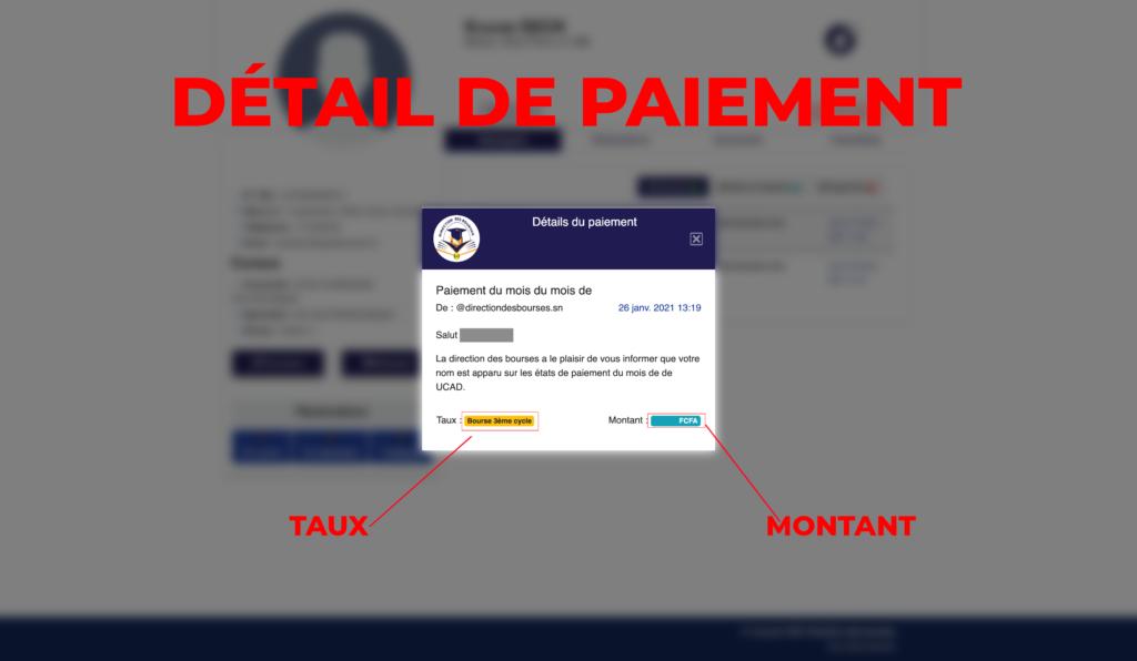 """Capture d'ecran de la  page"""" detail de paiemennt""""  par infoetudes.com"""