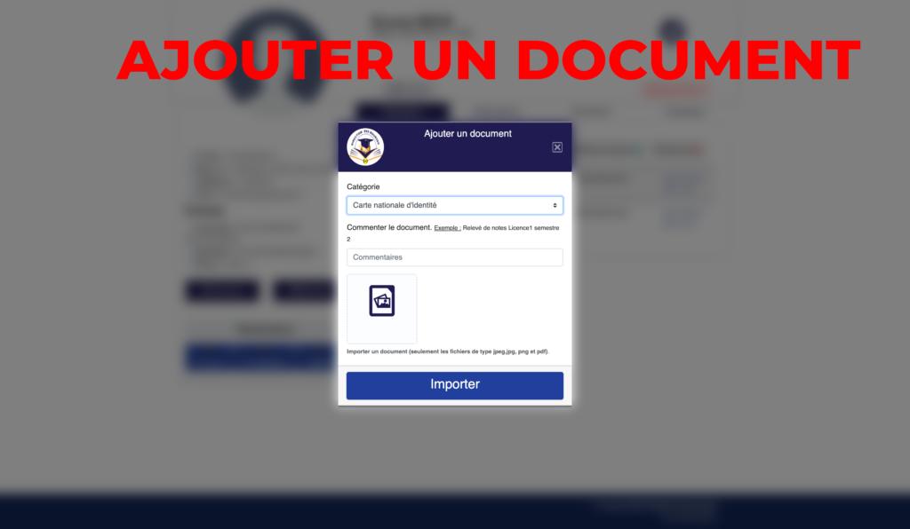 """Capture d'ecran de  la page """"ajouter un document""""  par infoetudes.com"""