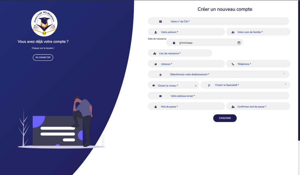 """Capture d'ecran de la  page"""" s'incrire""""  par infoetudes.com"""