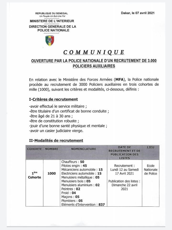 police senegalaise recrute