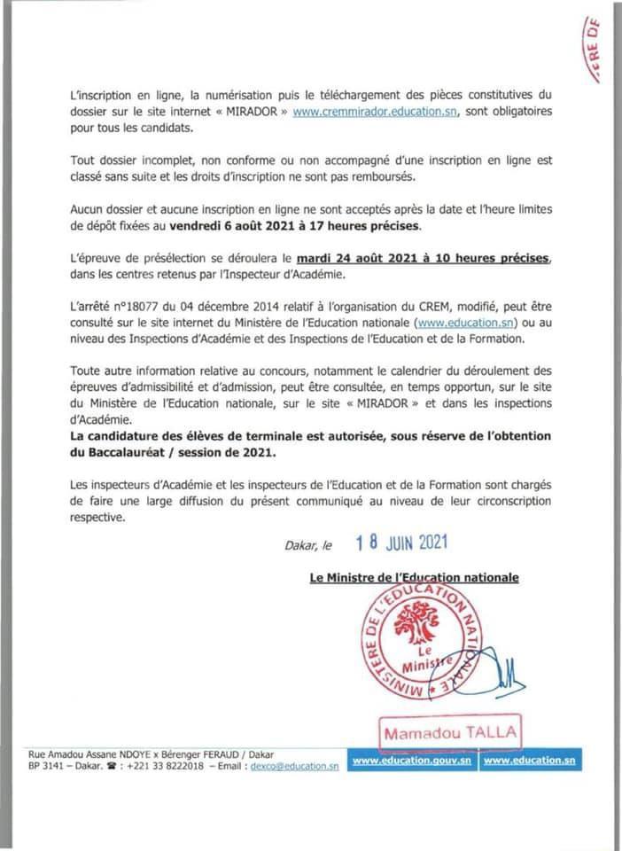 WhatsApp Image 2021 06 18 at 18.11.53 Ouverture Concours de recrutement d'élèves maitres CREM 2021