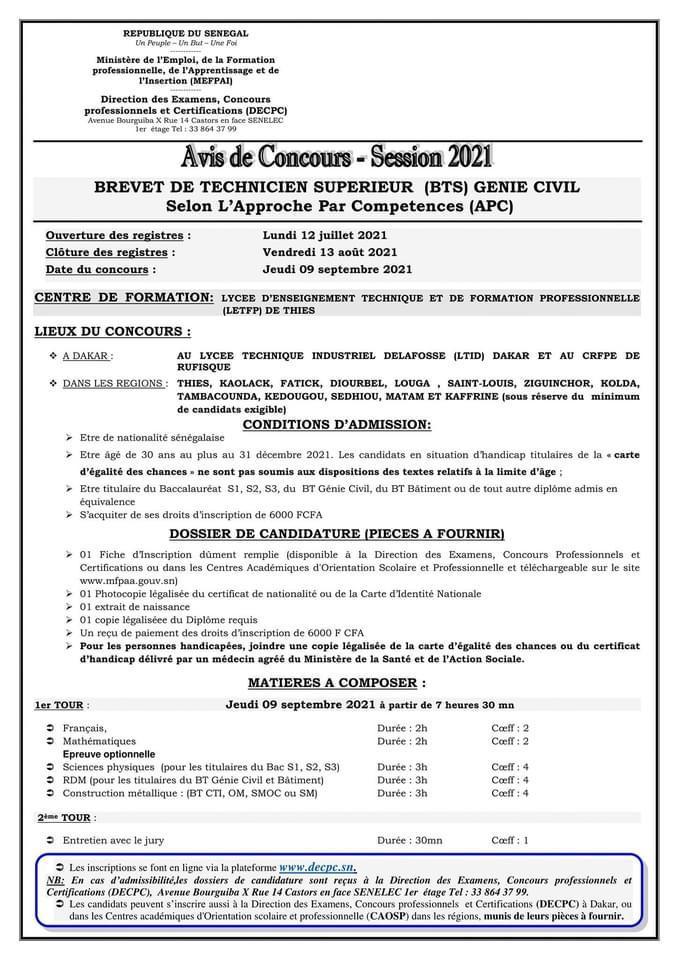 IMG 20210712 WA0014 Concours d'entrée brevet de technique supérieur BTS Génie Civil- SESSION 2021