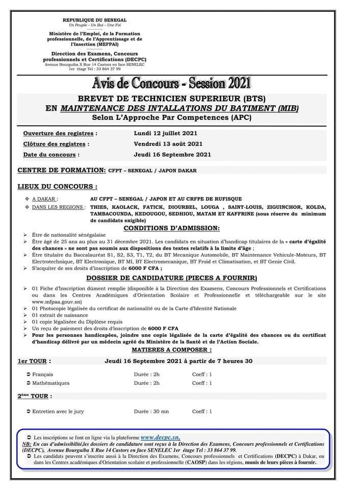 IMG 20210712 WA0015 Concours d'entré au brevet de technique supérieur BTS en maintenance des installations du batiment (MIB) SESSION 2021