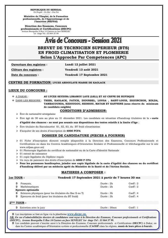 IMG 20210712 WA0016 Concours d'entré au brevet de technique supérieur en Froid Climatisation et plomberie - session 2021