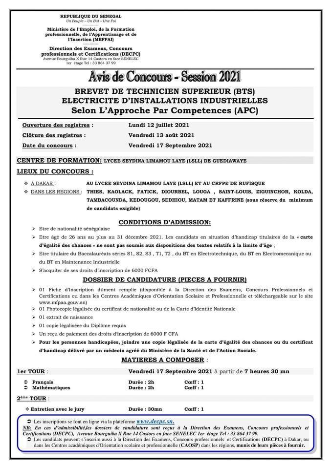IMG 20210712 WA0018 Concours d'entrée en 1ère année Brevet de Technicien Supérieur (BTS) en Electricité d'Installation Industrielle du LSLL (lycée Seydina Limamou laye de Guédiawaye ) selon l'approche par compétence (APC) SESSION 2021