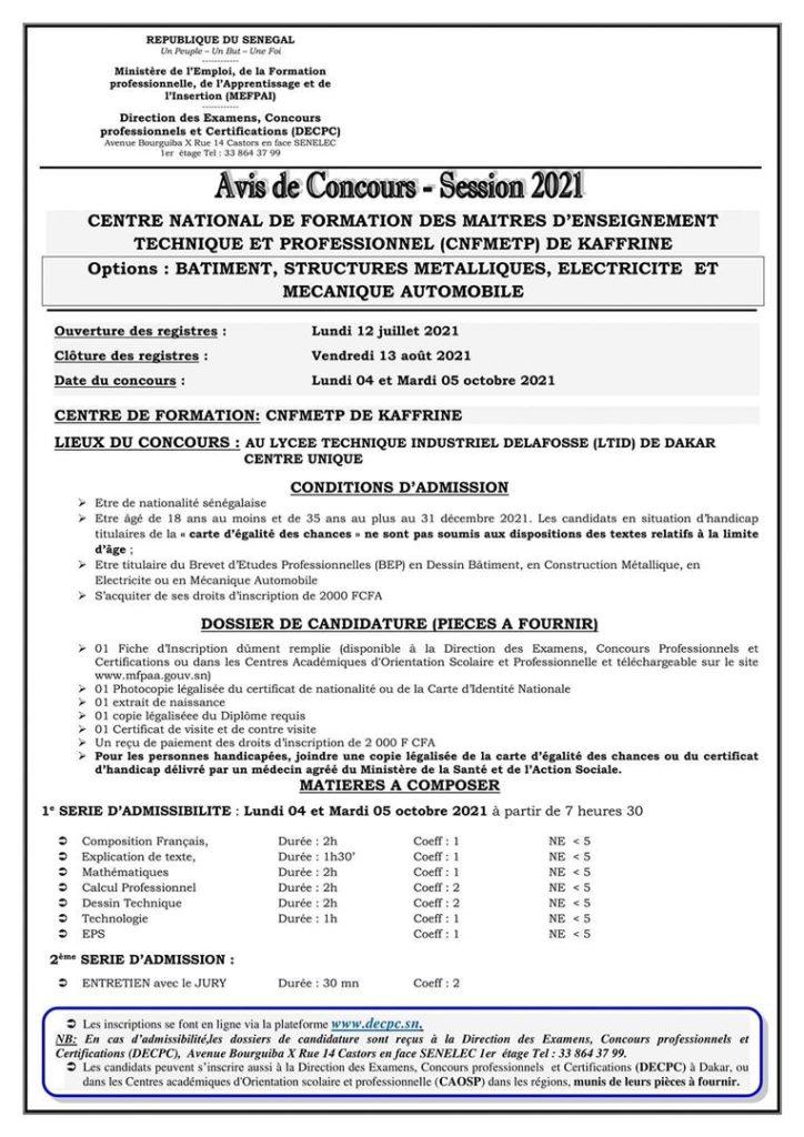 IMG 20210712 WA0022 Concours d'entré au CNFMETP (Centre National de Formation des Metiers de l'Enseignement Téchnique Professionel) SESSION 2021