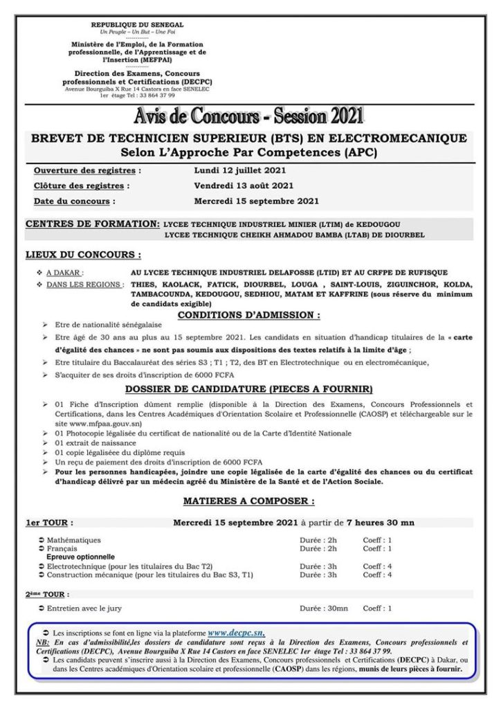 IMG 20210712 WA0030 Concours d'entrée en première année de brevet de technique en industrie- session 2021
