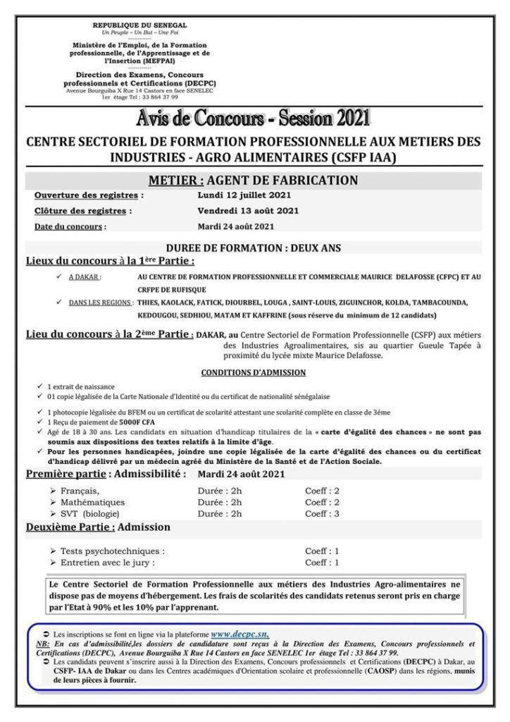 IMG 20210712 WA0033 1 Concours D'entrée Au CSFP IAA – Session 2021