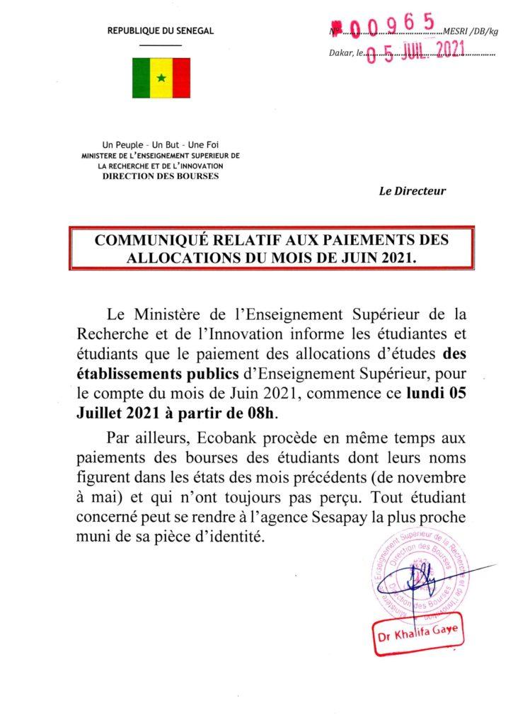 PAIEMENTS DES BOURSES DU MOIS DE JUIN 2021.
