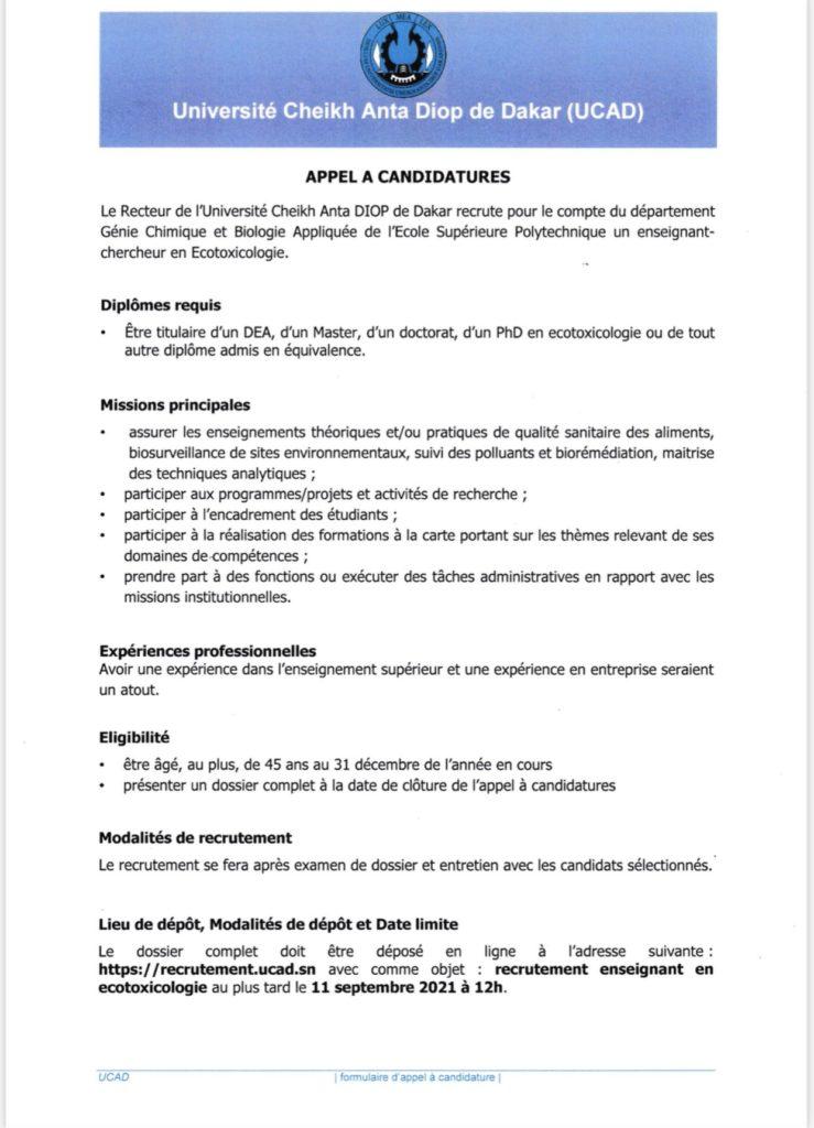 20210811 160413 L' UCAD recrute pour l'ESP des enseignants-chercheurs avec les spécialités suivantes :<br>-Ecotoxicologie (01);<br>-Automatique et automatisme industriels (01);<br>Les dossiers de candidature seront reçus jusqu'au 11 septembre 2021