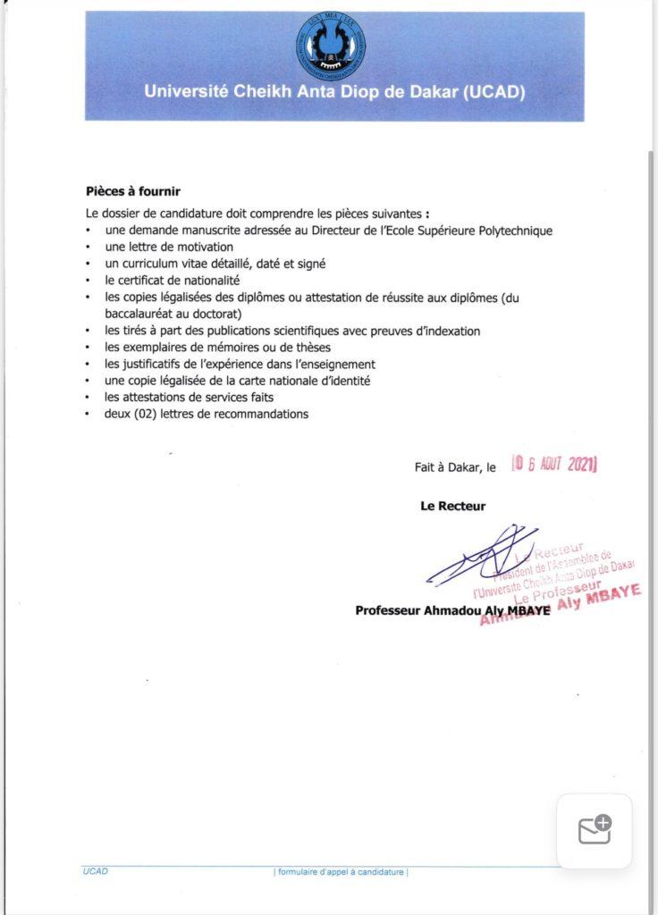 20210811 160416 L' UCAD recrute pour l'ESP des enseignants-chercheurs avec les spécialités suivantes :<br>-Ecotoxicologie (01);<br>-Automatique et automatisme industriels (01);<br>Les dossiers de candidature seront reçus jusqu'au 11 septembre 2021