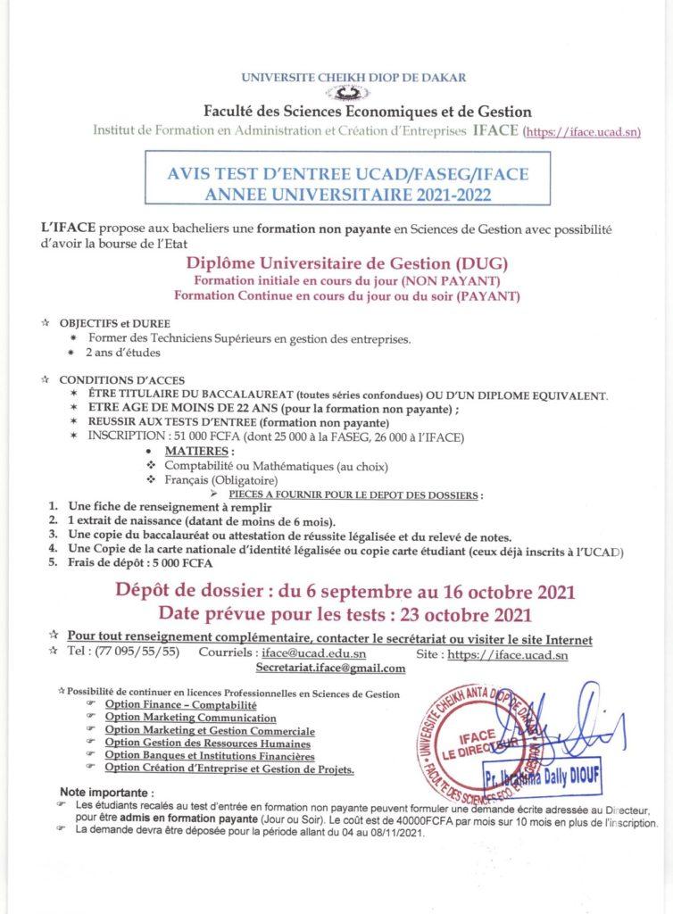 20210910 093456 TEST D'ENTREE ET DEPOT DE DOSSIER 2021/2022 pour l'Institut de Formation en Administration et Création d'Entreprises (IFACE)