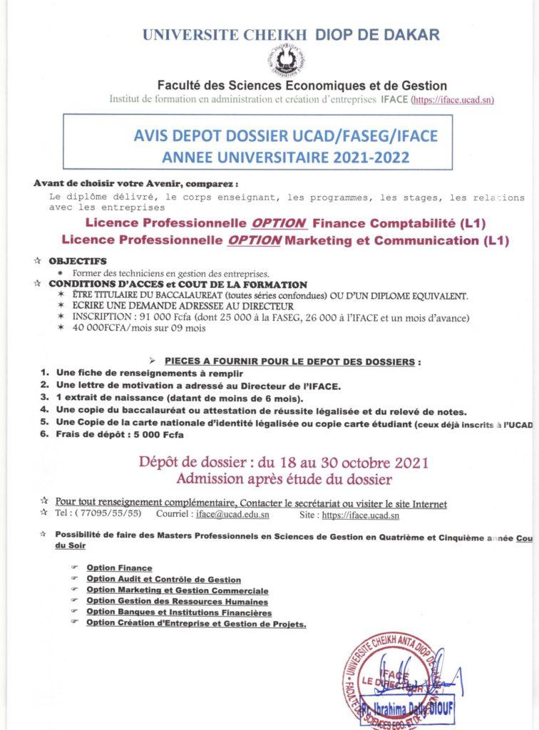 20210910 093459 TEST D'ENTREE ET DEPOT DE DOSSIER 2021/2022 pour l'Institut de Formation en Administration et Création d'Entreprises (IFACE)