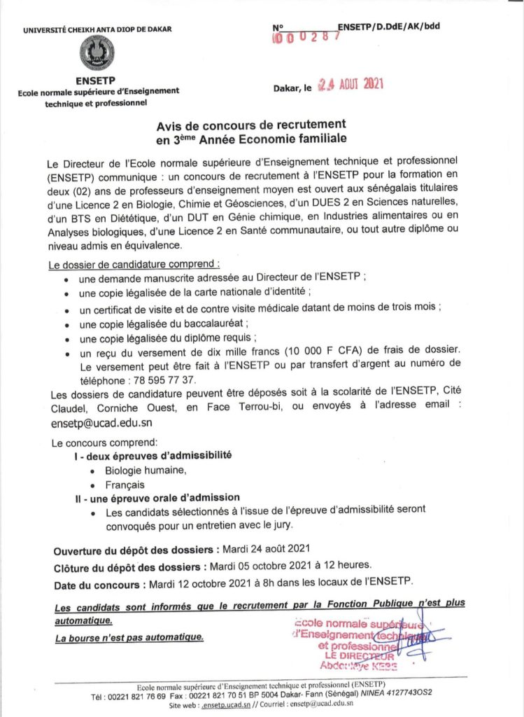 20210910 130237 concours Ecole Normale Supérieure d'Enseignement Technique et Professionnel(ENSETP) 2021