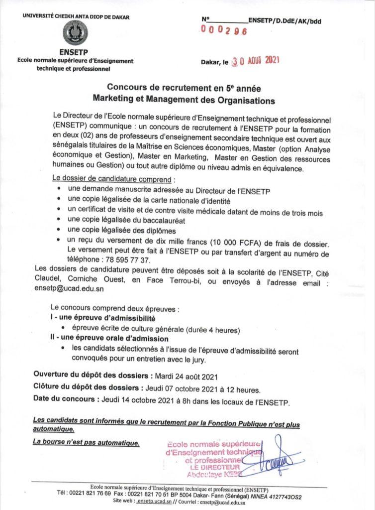 20210910 130241 concours Ecole Normale Supérieure d'Enseignement Technique et Professionnel(ENSETP) 2021