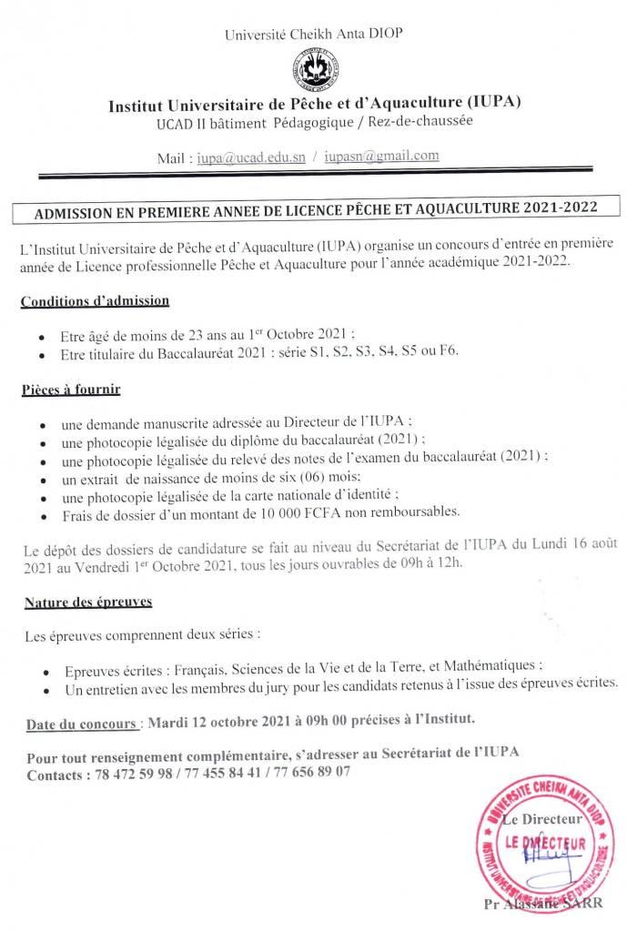 241177516 2898351203621810 3538492158371725370 n 1 Concours d'entrée à l'Institut universitaire de pêche de d' aquaculture ( IUPA ) SESSION 2021