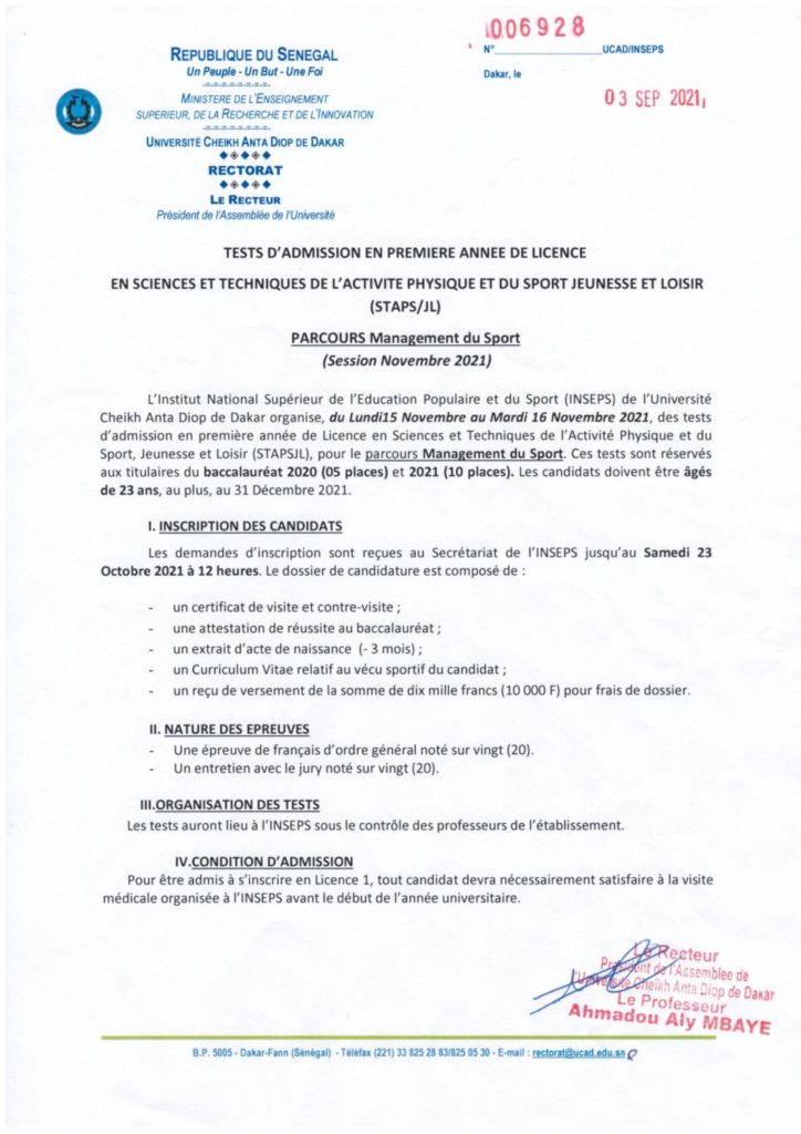 TESTS INSEPS MANAGEMENT DU SPORT 2 pdf INSEPS : TESTS Management du Sport 2021
